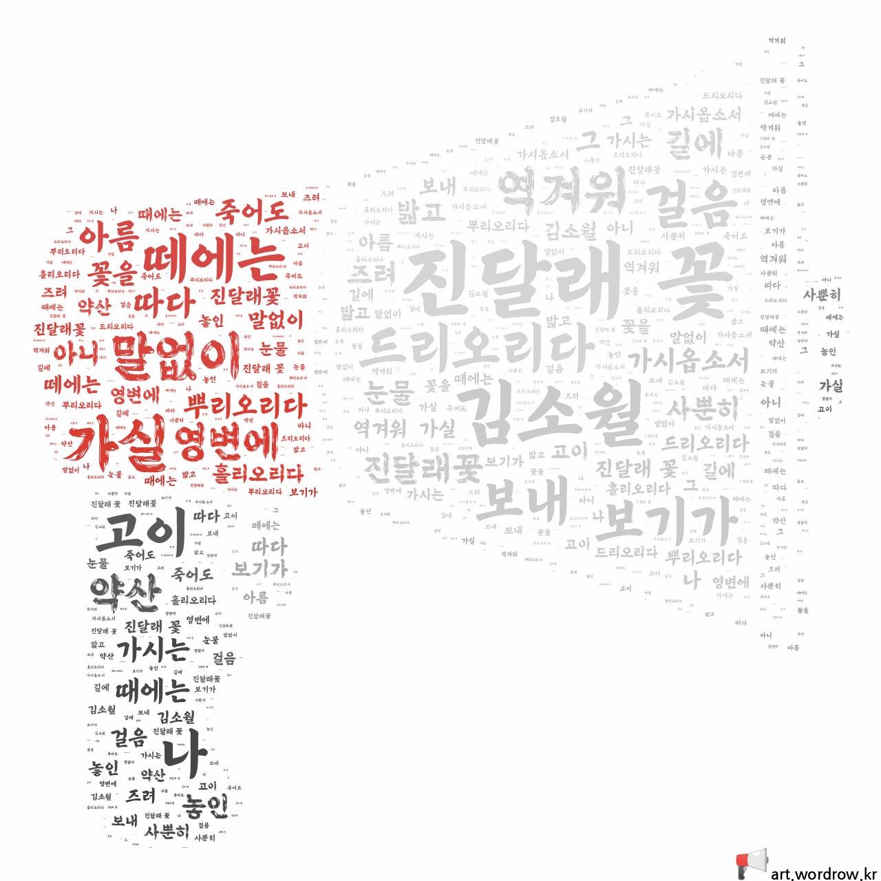 워드 클라우드: 진달래 꽃 [김소월]-51